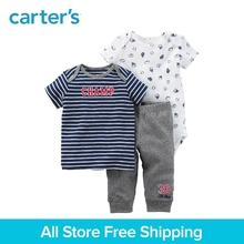 Carter's 3-Piece baby children kids clothing Boy Spring & Summer Cotton sports print stripes Little Character Set 126H220