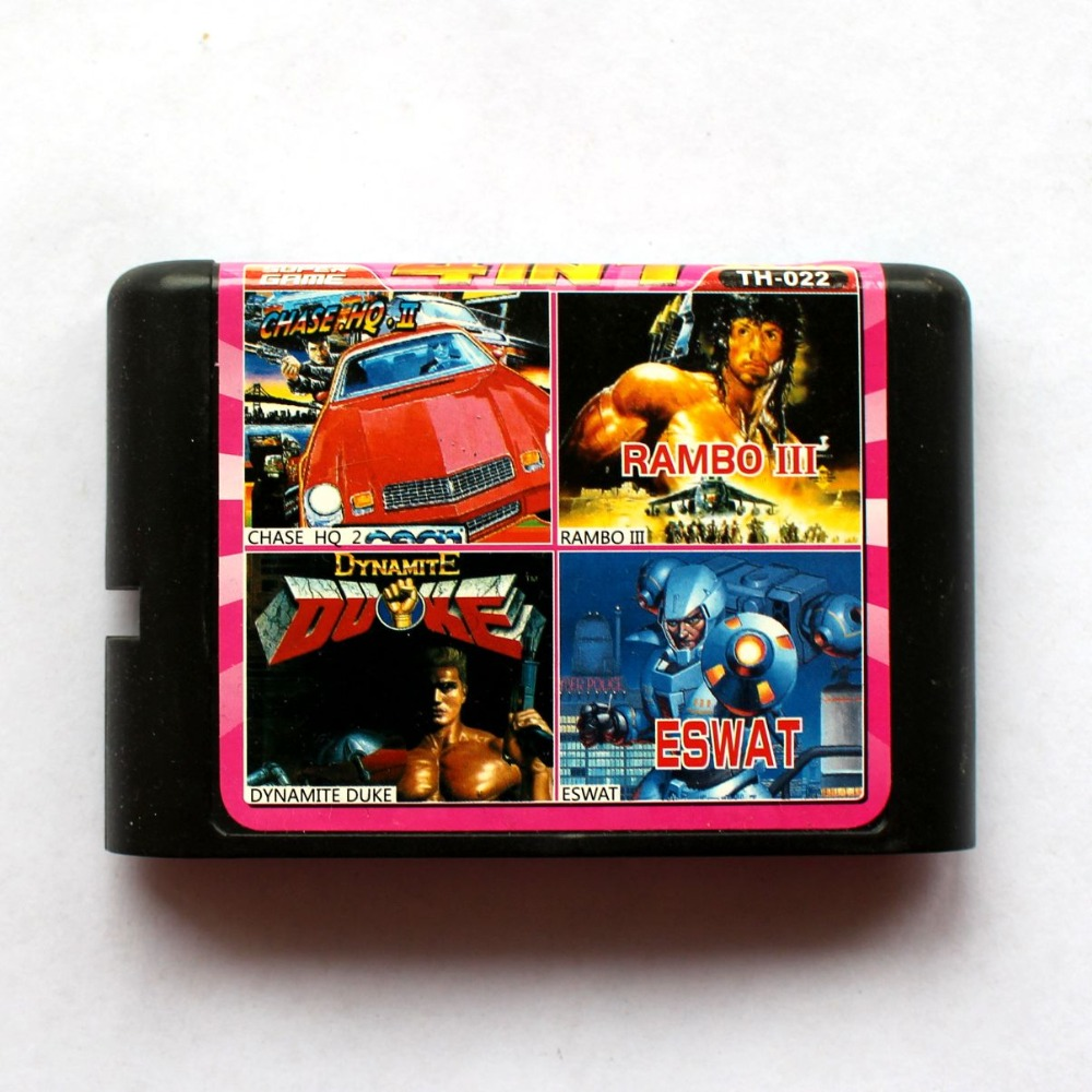 4in1 Chase hq 2+Rambo III+Dynamite Duke+Eswat 16 bit SEGA MD Game Card For Sega Mega Drive For Genesis