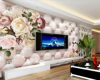 цена на beibehang Custom Wallpaper Vintage flower pattern diamond soft pack TV background wall wall papers home decor carta da parati