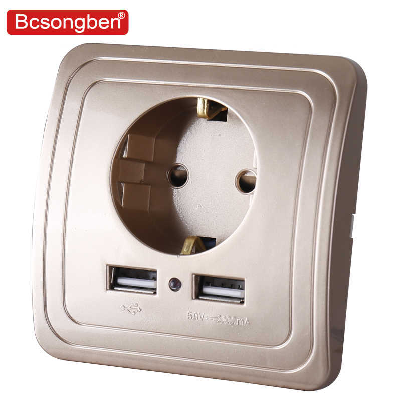 Bcsongben Dual USB Port Wall Charger Adapter Charging 2A Wall Charger Adapter EU standard Plug pop Socket Power Outlet gold