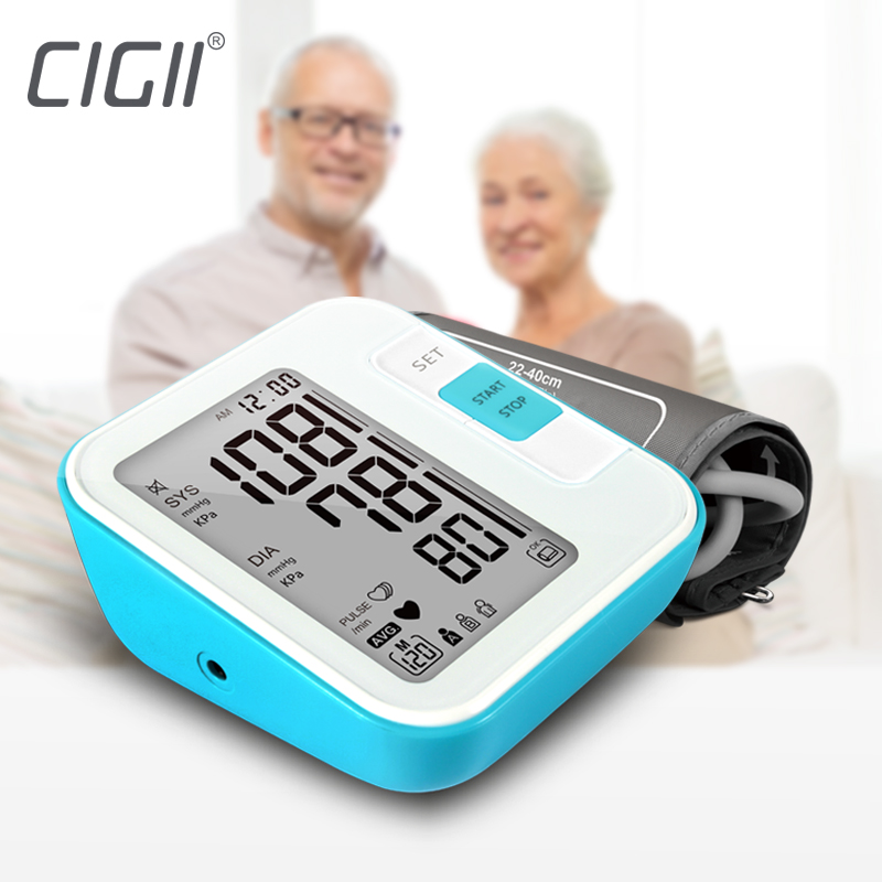 Cigii Large LCD digital Upper Arm Blood pressure monitor Tonometer Meter Pressure arterial Home health care monitor 2 Cuff band.