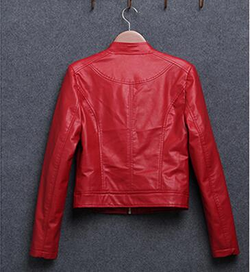 Spring stand collar PU leather motorcycle jacket women short slim black red basic jacket coat female
