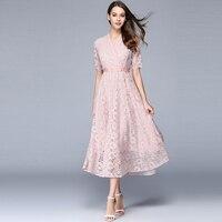 High Waist Hollow Dress Lace Women Long Elegant Ladies Summer Dresses Maxi Zaful Vintage Dress Casual