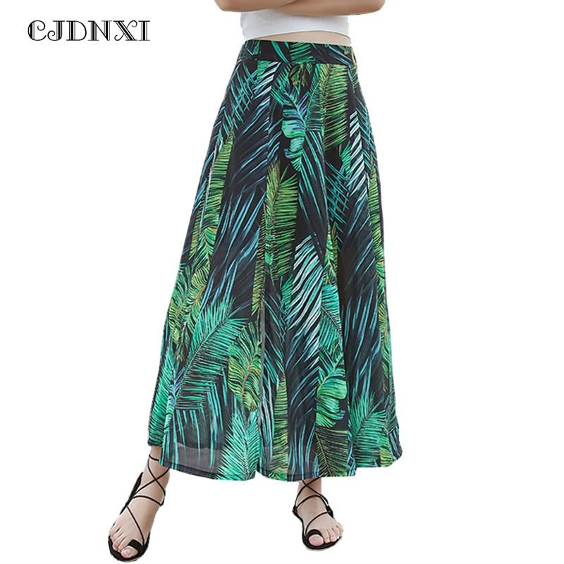 e7d25cefb46b CJDNXI Summer Women High Waist Long Chiffon Skirt Lady Casual Green Print  Patchwork Four Split Boho Beach Maxi Skirts Plus Size