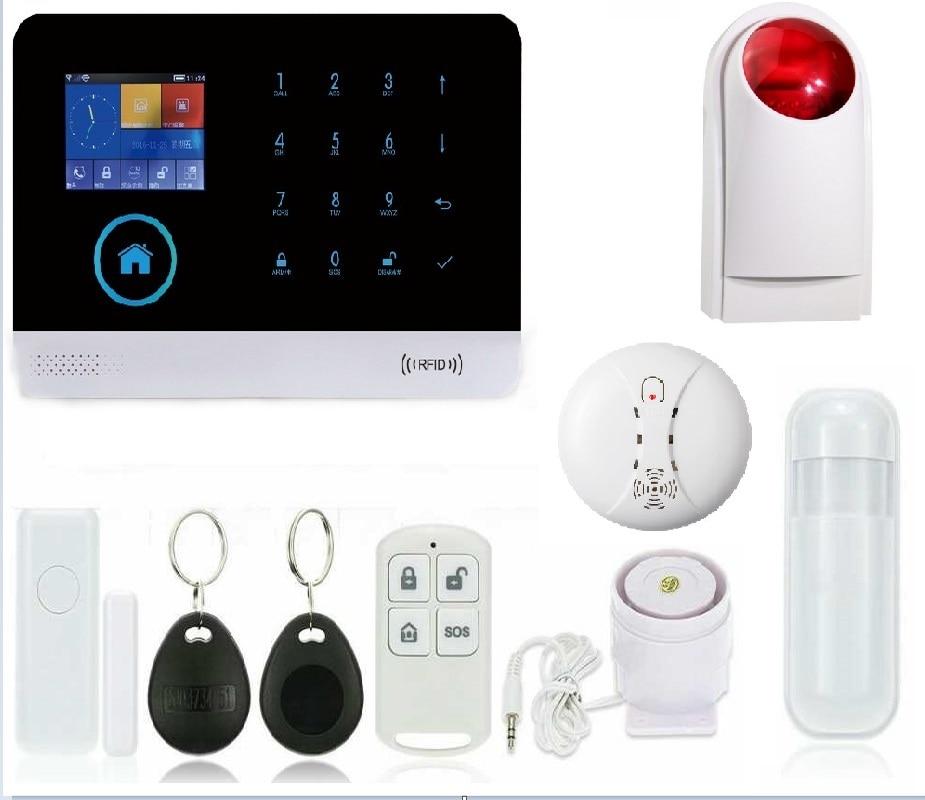 GSM wi-fi poplašný systém, německý / anglický multifunkční bezdrátový zabezpečovací zabezpečovací systém WIFI Bezdrátová venkovní siréna Bezdrátový kouř
