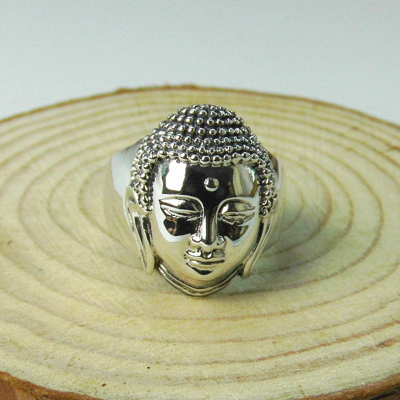 925 Sterling Silver Jewelry Silver Buddha Head Ring New