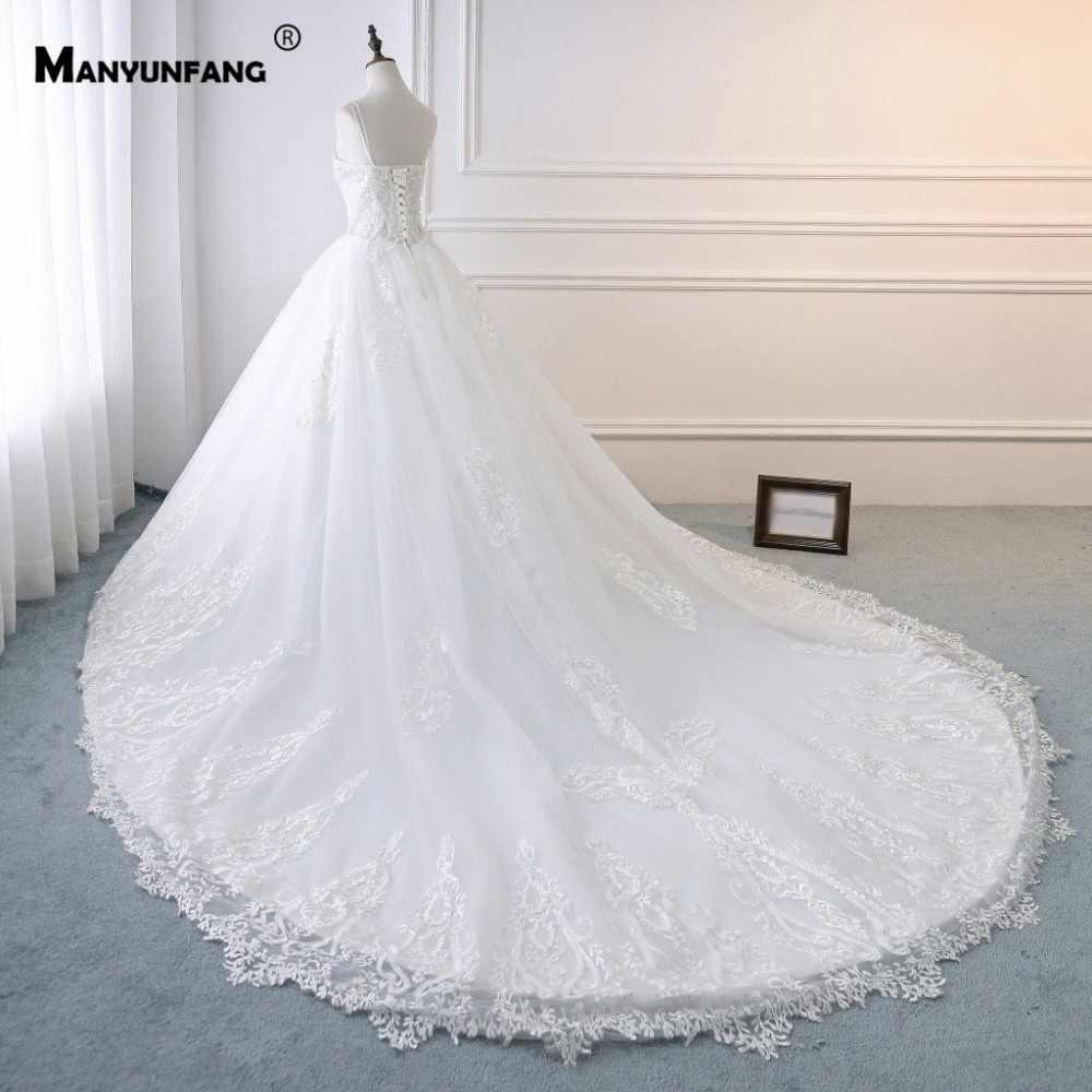 Спагетти ремни халат De Marie сатин Mariage 2019 Vestito Sposa Милая Шея Королевский поезд качество бусины Золотое свадебное платье