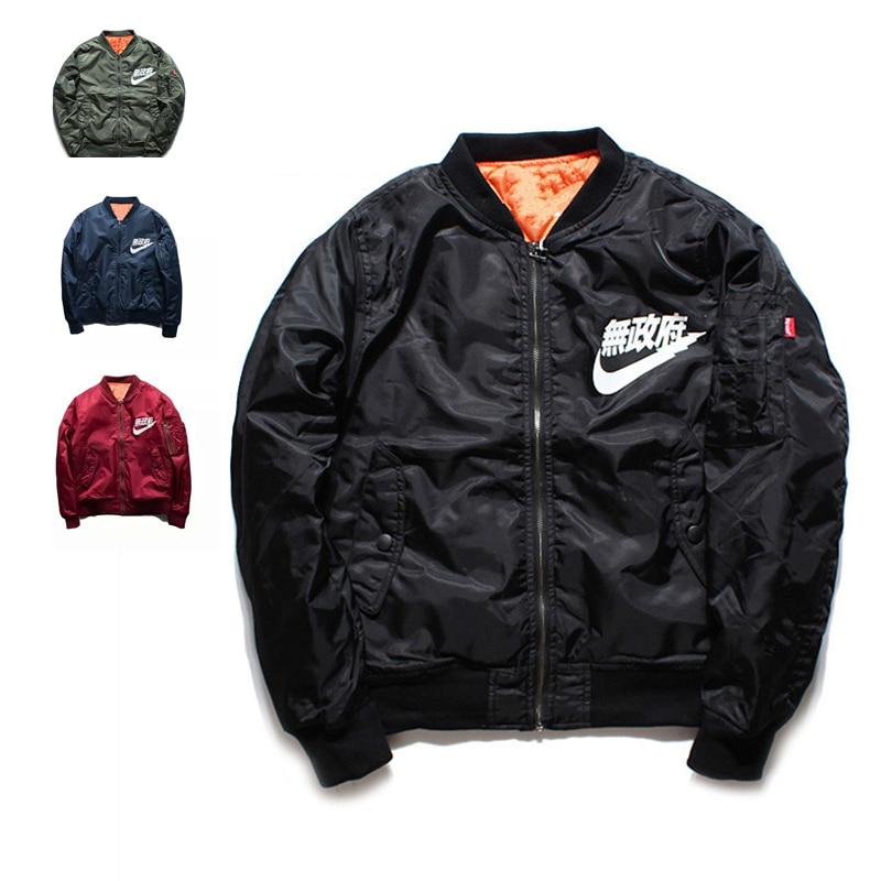 Ma1 Bomber Jacket 2017 winter jackets Pilot Anarchy Outerwear Men Army Green Kanji Japanese Merch Flight Coat Streetwear printed