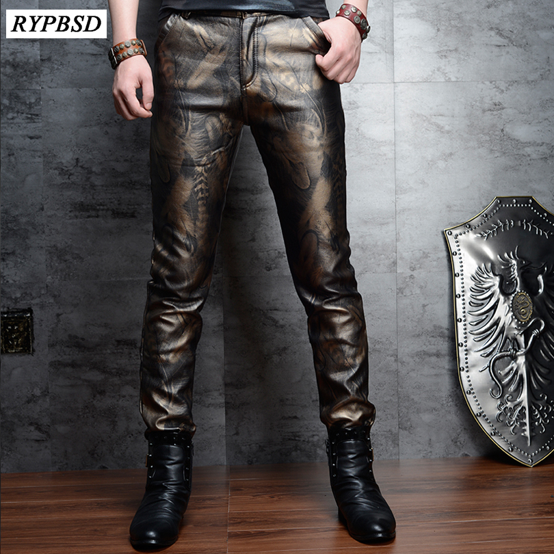 2 Colors Fashion Faux Leather Pants for Men Slim Skinny PU High Quality Zipper Pencil