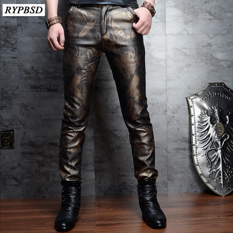 2 Colors Fashion Faux Leather Pants For Men Slim Skinny PU Leather Pants Men High Quality Zipper Faux Leather Pencil Pants