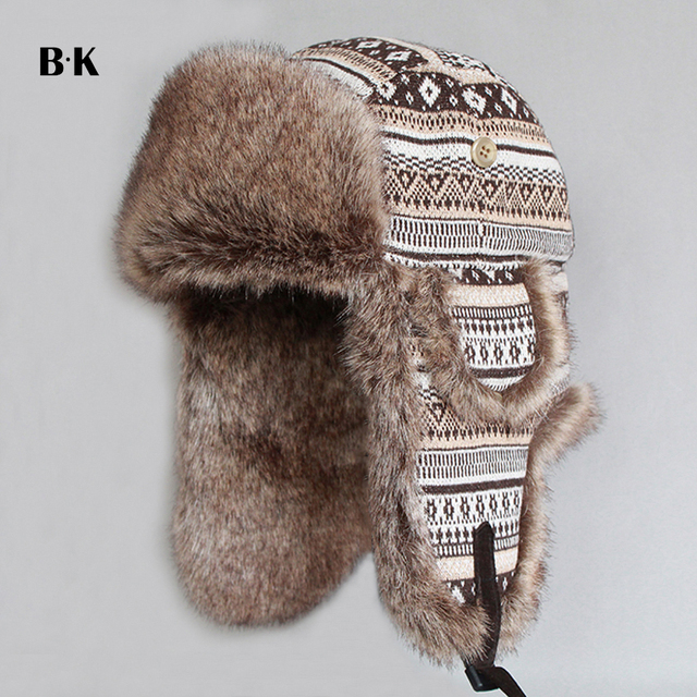 699220db99a Winter Snow Hats Women and Men s Trapper Hat Earflap Aviator Caps Cotton  Blend Faux Rabbit Fur Russian Ushanka