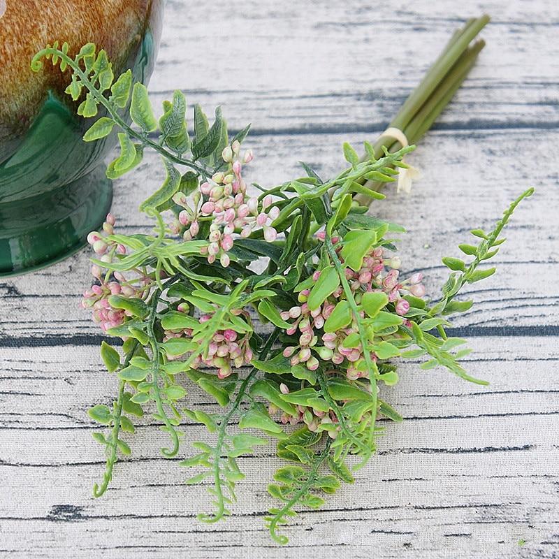 6PCS/SET Hand Holding Flowers Lilacs Clove fruit Artificial flowers DIY plant wall Wedding Bouquets decoration bouquet material