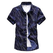 Hawaiian Shirt Mens Clothing Short-sleeved Striped printed Men Shirts Slim fit Casual Blouse Summer