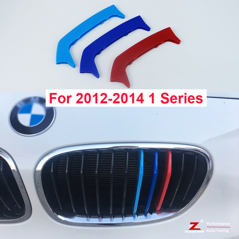 3D Color M Styling Front Grille Trim motorsport Strip grill Cover Sticker For 2012 to 2014 BMW 1 series F20 F21 motorsport manager [pc jewel]