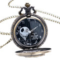 Bronce Pesadilla Antes de Navidad Jack Skellington Cuarzo Reloj de Bolsillo Collar de Cadena Mujeres de Los Hombres Cráneo Colgante