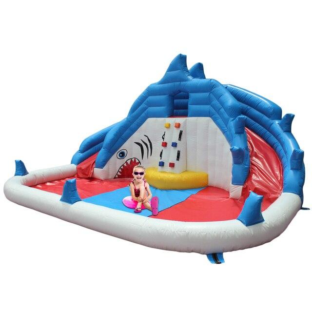YARD Бесплатная Доставка DHL Надувные Вышибала Милые Акулы Перемычку с Длинными Слайд с Вентилятором для Детей