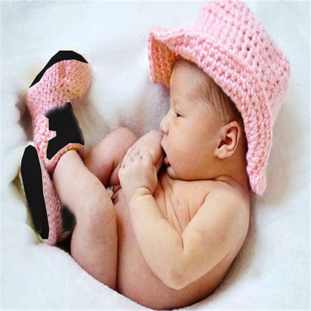 4c1b767af5a Baby Cowboy Cowgirl Crochet Accessories Infant Knitted Bowler Hat+Boots  Photography Props Outfits Newborn-24Months Costume Set