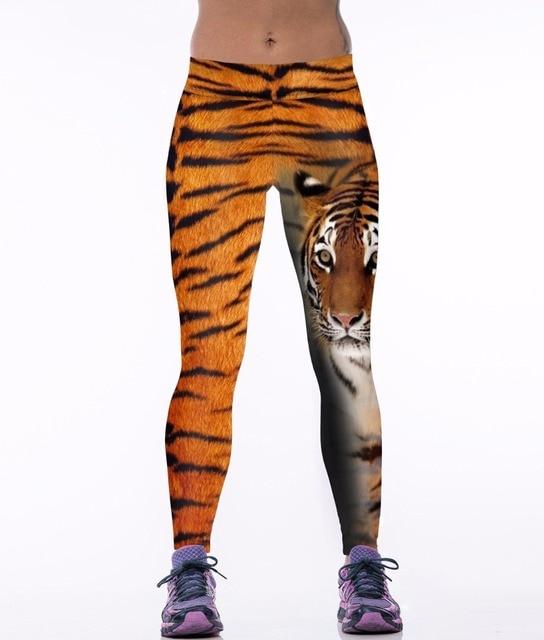 NEW 0025 Sexy Girl Women Tiger Striped Animal 3D Prints High Waist Workout Fitness Leggings Pants