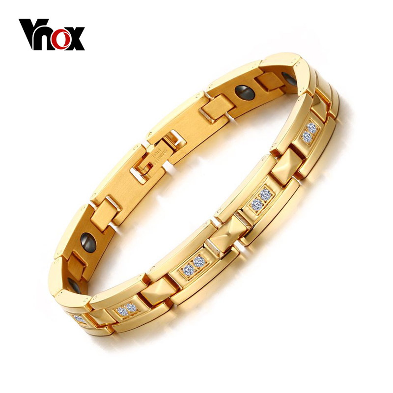 Vnox Bracelet for Women Handmade Wrap Hematite Magnet Health Vintage Jewelry