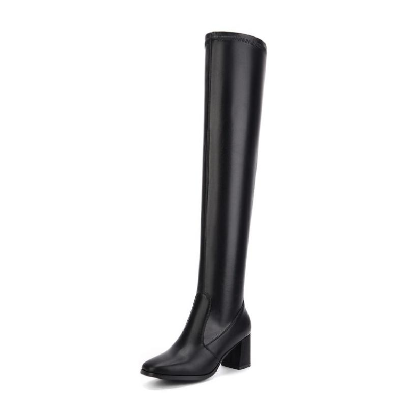 купить SALCXOI winter boots women elasticity PU high heel white black slip-on pointed toe over the knee boots woman free shipping &104 дешево