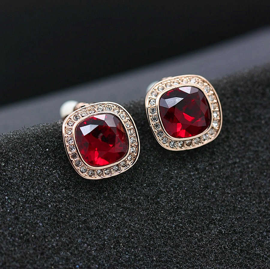 11.11 New Luxurious Square Shape Design Made with Austria Crystal Clip Earrings Without Pierced Ears Jewelry for Bridal Bijoux
