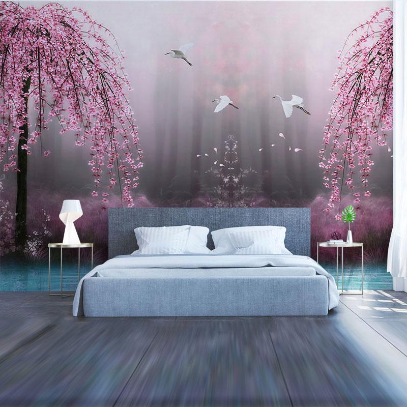 Living Room Bedroom Wall Papers Big Tree Lake Water Wall ...
