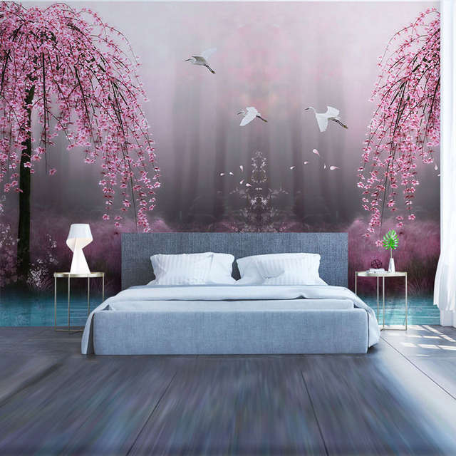 US $16.1 47% OFF|Living Room Bedroom Wall Papers Big Tree Lake Water Wall  Painting Photo Wall Paper Murals 3D Self Adhesive Vinyl/Silk Wallpaper-in  ...