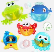 Outdoor Bubble Frog&Crabs Baby Bath Toy Bubble Maker Swimming Bathtub Soap Machine Toys for Children With Music Water Toy(China)
