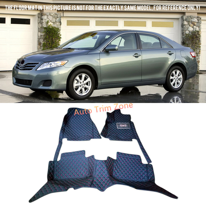 Black Interior Leather Floor Mats & Carpets For Toyota Camry 2007-2011 XV40 black leather interior floor mats