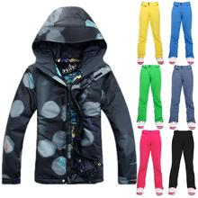 Top Quality Snowboard Jacket  Suit Women Ladies Waterproof Thermal Skiing Jacket set Female Camping Sport Winter Snow Coat Suit