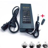 Adaptador de fuente de alimentación de 12V 10A 10 amp 120W DC EU/US UK AU, tira de luz LED transformador