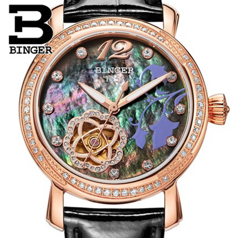 Genuine Luxury BINGER Brand Women automatic mechanical self-wind sapphire watch female form queen waterproof diamond binger genuine gold automatic mechanical watches female form women dress fashion casual brand luxury wristwatch original box