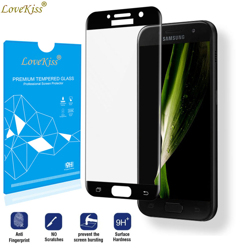 Curved Full Cover Screen Protector For Samsung Galaxy A3 A5 A7 2017 A520 A720 A320 A520F A720F Tempered Glass Coverage Film Case