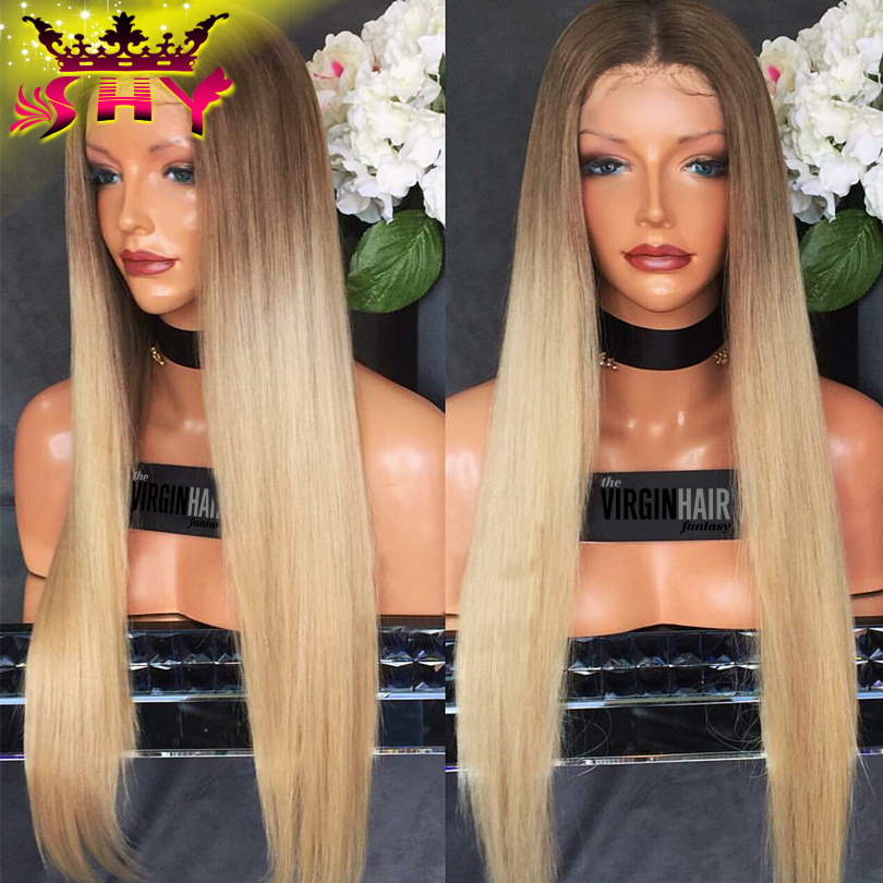 2017 Blonde Lace Front Wig Human Hair Dark Root Blonde Human Hair Full Lace Wig For Fashion Women #613 Full Lace Human Hair Wigs