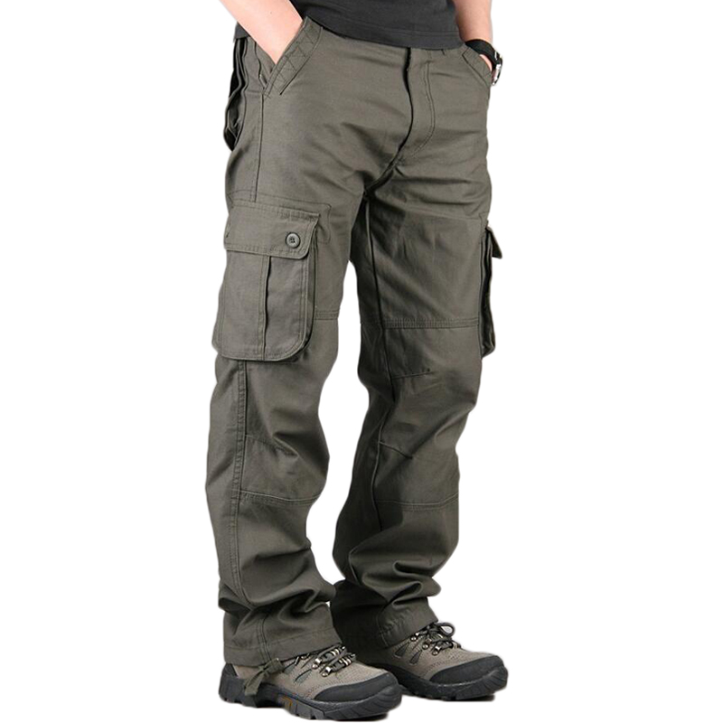 2019 Men's Cargo Pants Men Casual Multi Pockets Cotton Tactical Trousers Work Mens Joggers Overalls Pantalon Homme Plus Size 44