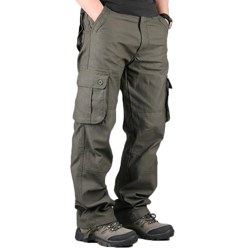 2020 Men's Cargo Pants Men Casual Multi Pockets Cotton Tactical Trousers Work Mens Joggers Overalls Pantalon Homme Plus Size 44