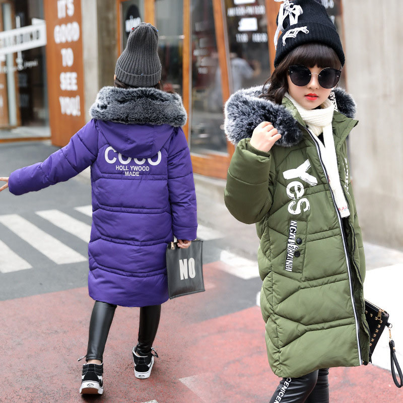 Kids Long Parkas For Girls Boys Hooded Coat Winter Warm Down Jacket Children Outerwear Infants Thick Overcoat 6 8 9 10 12 14 Yea 2017 new kids long parkas for girls fur hooded coat winter warm down jacket children outerwear infants thick overcoat 3t 14t