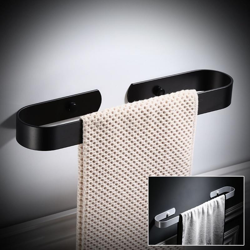 Tuqiu Towel Bar Nail Free Single Bathroom Towel Hanger White Aluminum Towel Rail Matte Black Towel Holder 30/40/50/60 Cm