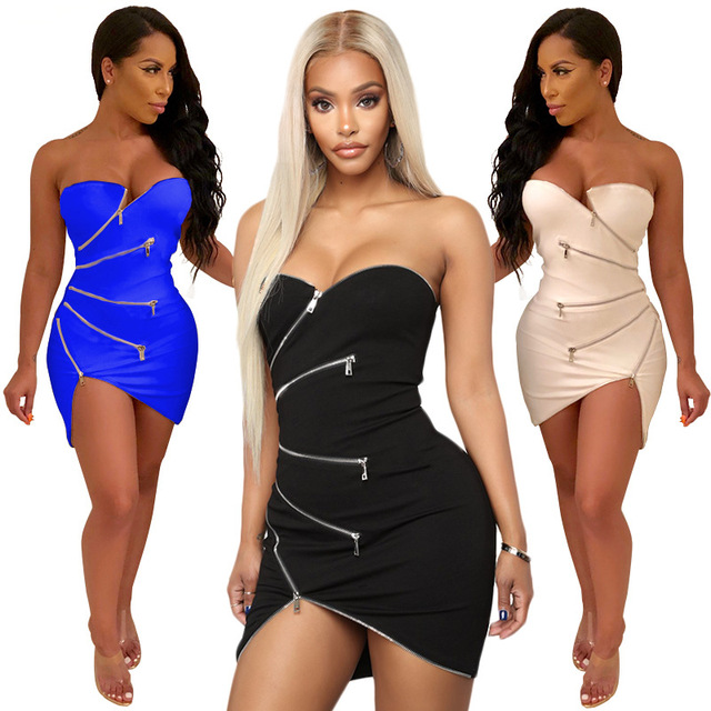 Sexy Off The Shoulder Slash Neck Mini Dress Zipper tight Hot Club wear Irregular Slit Night Club Bodycon Dresses Women 2051