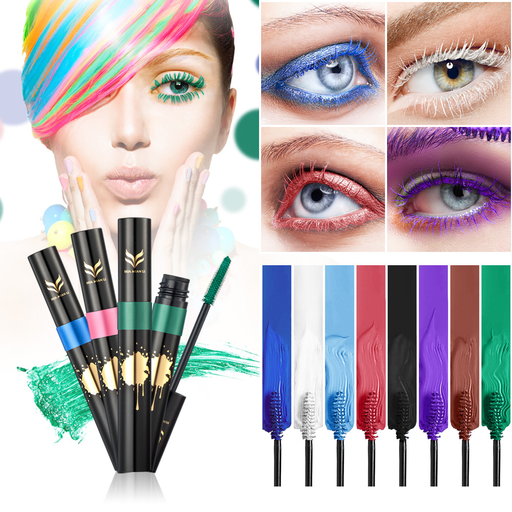 HUAMIANLI Colorful Green Blue Mascara Waterproof Lengthening Curling Eye Lashes Silicone Women Professional Makeup 3D Mascara