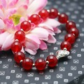 Wholsale 8mm Classic Chalcedony beads Natural Red stone Bracelet hand chain for women girls Pendant Tibet Silver heart-shaped