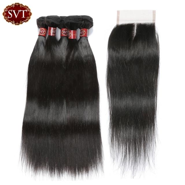 Svt Hair Peruvian Hair Bundles With Closure Human Hair Extensions