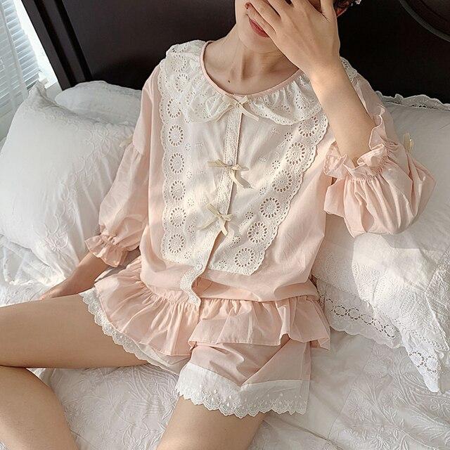 Vrouwen Lolita Prinses Kant Pyjama Sets Katoen Tops + Shorts.Vintage Dames Meisje Kant Pyjama Set. Zomer Nachtkleding Loungewear