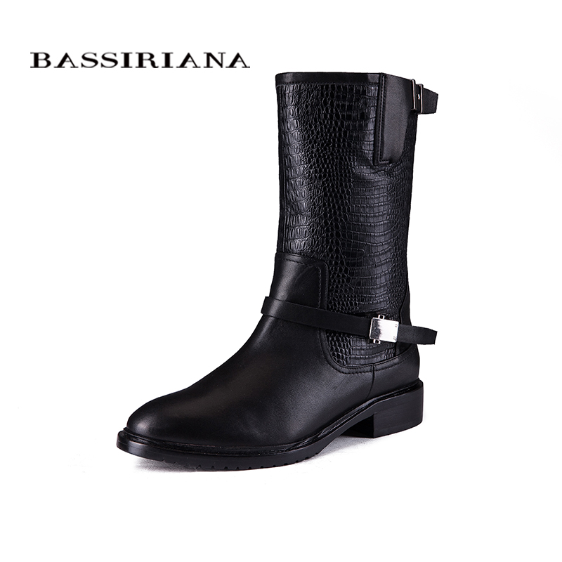 2017 new winter boots with fur Genuine leather shoes woman Big sizes 35-40 High quality shoe for womens BASSIRIANA aiweiyi womens high quality genuine leather real fur 100