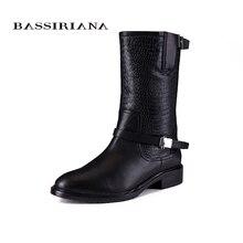 2017 nuevas botas de invierno con piel Genuina de cuero mujer zapatos de tallas Grandes 35-40 de Alta calidad de zapatos para mujeres BASSIRIANA