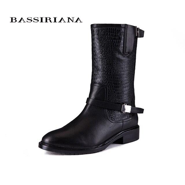 BASSIRIANA 2017 новые зимние ботинки с овцами подкладка Из Натуральной кожи женской обуви Больших размеров 35-40 Высокое качество обуви для женщин