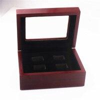 Producent niskie koszty wysokiej klasy 4-otworowa garnitur pierścień drewniane pudełko pudełko męska super bowl champion szybka dostawy
