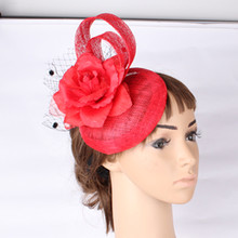 Fashion Multiple color select sinamay font b hat b font with silk flower bridal hairstyle fascinator