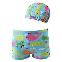 Funfeliz Baby Swimwear with Swimming Cap Boys Trunks Pool Toddler Boy swimsuit Board Shorts Cartoon Beachwear