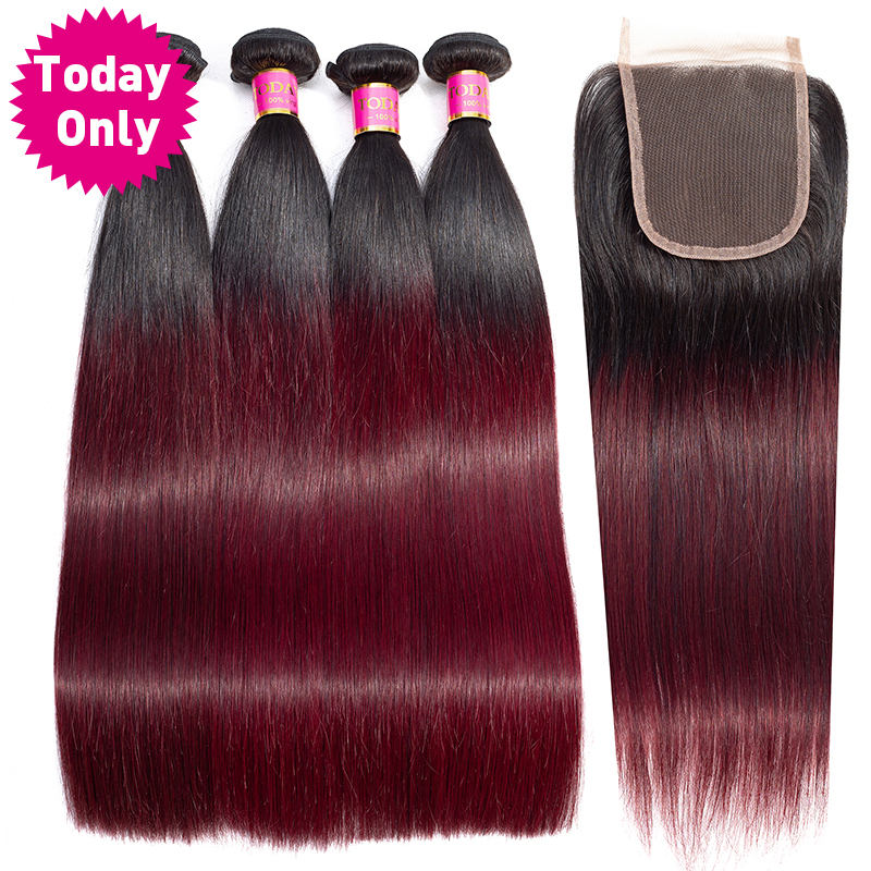 TODAY ONLY Burgundy 4 Bundles With Closure Brazilian Straight Hair Bundles With Closure Ombre Human Hair